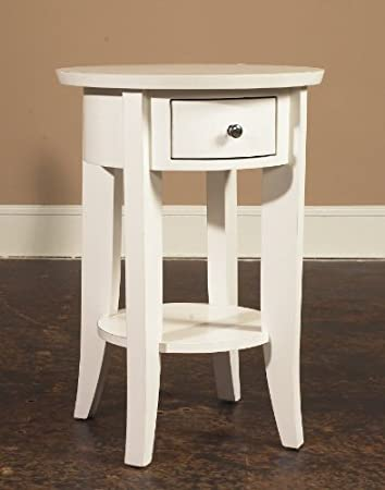 Tall Round Side Table White