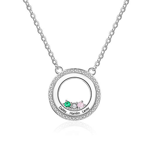 Personalized Birthstone Necklace 925 Sterling Silver-Pick 3 Birthstones and 3 Names, Gift for her, Women, Girls, Birthday, Fahion, Jewelry