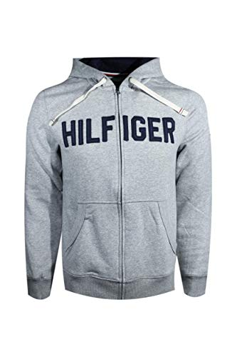 (Tommy Hilfiger Mens Full Zip Graphic Hoodie (M, Gray) )