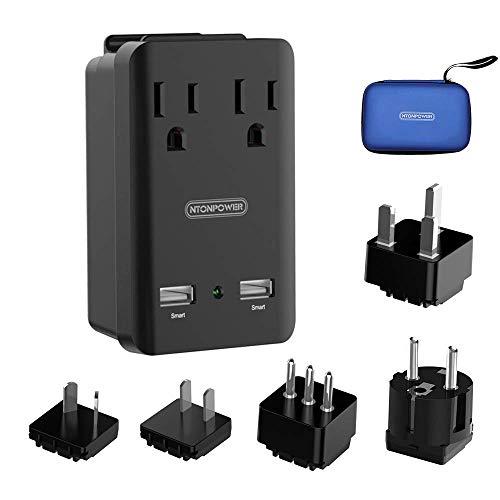 World Travel Adapter Kit - NTONPOWER International Power Adapter, 2 USB Ports 2 Outlets, 2000W Universal Cruise Power Strip with Organizer Case for Europe, Italy, UK, China, Australia, Japan (Black)