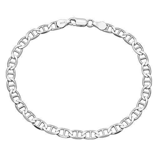 4.2mm 925 Sterling Silver Nickel-Free Flat Mariner Link Italian Bracelet, 9