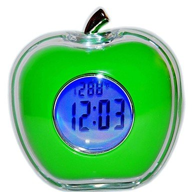 "Amazon #LightningDeal 67% claimed: Super Value - Apple Shaped - Talking time - Digital Alarm Clock - Thermometer - 3"" size - Speech Function - Green Color"
