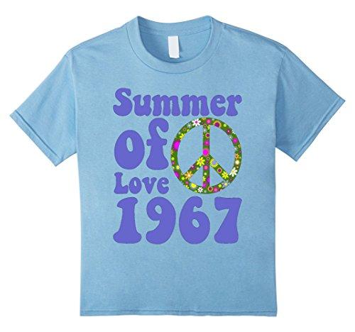 Kids 1967 Summer of Love Vintage Tees Sixties Flower Power Shirt 6 Baby Blue