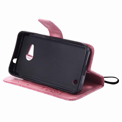 Yiizy Microsoft Lumia 550 Custodia Cover, Sole Petali Design Sottile Flip Portafoglio PU Pelle Cuoio Copertura Shell Case Slot Schede Cavalletto Stile Libro Bumper Protettivo Borsa (Rosa)