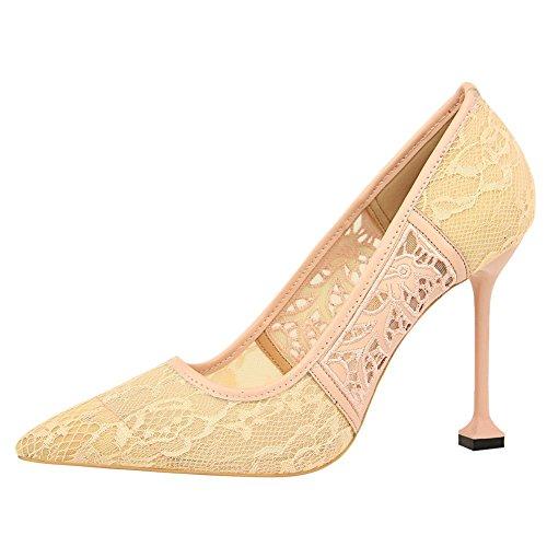 Carolbar Women's Sexy Elegant Lace High Heel Stiletto Evening Shoes Pink KkMgUCVXb