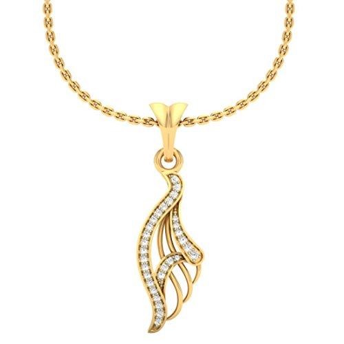 18K Or jaune 0.12CT TW Round-shape Diamant (IJ   SI) diamant Pendentif