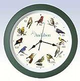 "Audubon Singing Bird Clock - 13"" Green, Large"