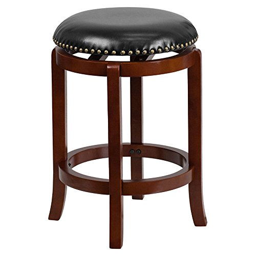 Offex 24'' High Light Cherry Wood Finish Counter Height Stool with Black Leather Swivel Seat