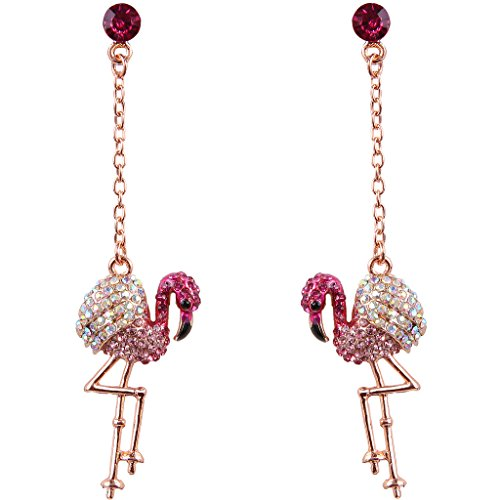 EVER FAITH Austrian Crystal Art Deco Lovely Flamingo Bird Pierced Dangle Earrings Pink Rose Gold-Tone
