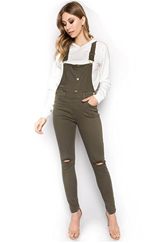 - TwiinSisters Women's Distressed Stretch Twill Overalls Size Small to 3X Multi Styles (Small, Olive #rjho926)