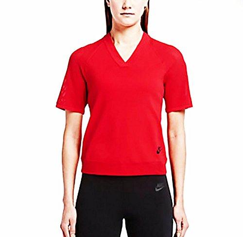 Nike Tech Knit Top - Camiseta para mujer Rojo / Negro (UNIVERSITY RED/BLACK)
