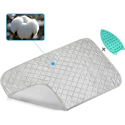 Ironing Mat, Portable Travel Ironing Blanket, Thickened Heat Resistant Ironing Pad Cover for Washer, Dryer, Table Top, Countertop, Small Ironing Board, Gift Silicone Iron Rest Pad (19×33 inches) - Iron Rest Pad