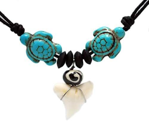 Exoticdream Sea Turtle Shark Tooth Necklace Handmade Hawaiian Style Beach Boy Men