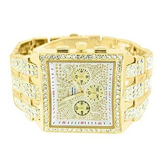 Big Square Face Watch Mens Iced Out Lab Diamonds Geneva Gold Steel Back Jojo -1058 (Iced Out Square Watch)