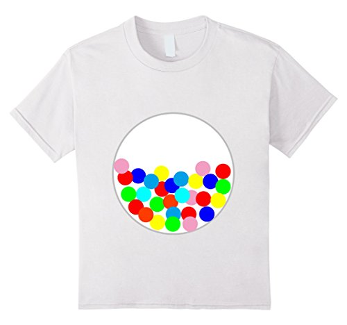 [Kids Halloween DIY Costume Gumball Machine Tee for Preschooler 12 White] (Gumball Machine Girls Costumes)