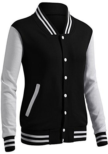 (CLOVERY Women's Varsity Style Long Sleeve Button Jacket Black M)
