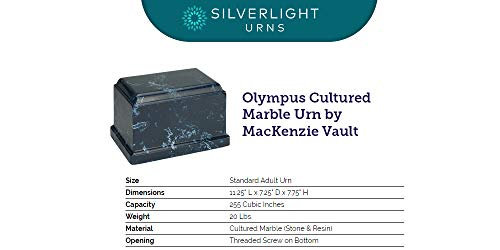 Silverlight Urns Navy olympus Cultured Marble Urn for Human Ashes Dark Blue with White Marbling – Adult Extra Large. Suitable for Ground Burial or Home Memorial Urn Display