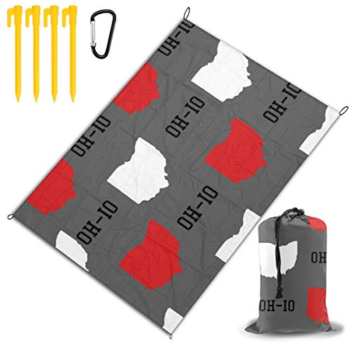 LHLX HOME Oh-Io State White and Red in Gray Picnic Blanket Handy Beach Mats with Waterproof Backing Anti Sand for Picnics, Beaches, Camping and Outings 78x57