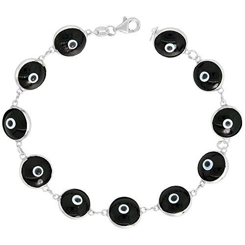 Sterling Silver Evil Eye Bracelet Black Color, 7 inch