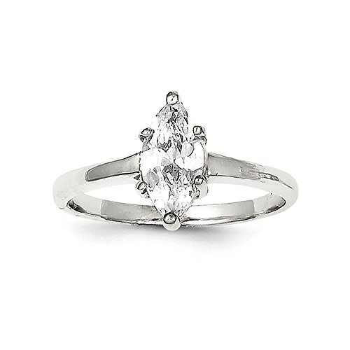 Marquise Created Moissanite Ring (Size 6 Sterling Silver Solitaire Marquise CZ Cubic Zirconia Ring (2mm))