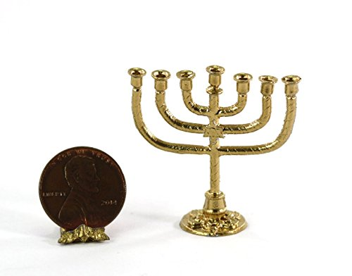 Multi Minis Dollhouse Miniature Gold Finish Jewish Menorah
