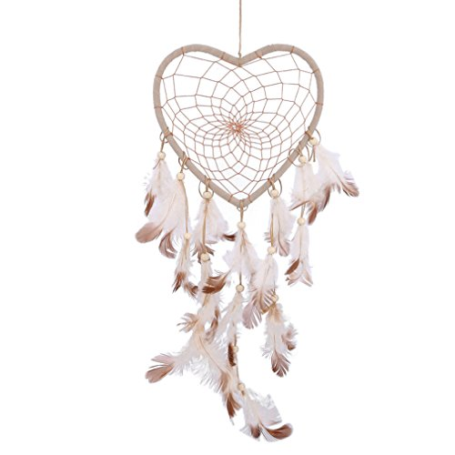 Loodar Indian Dream Catcher Feathers Beads Handmade Circular Heart Net Dreamcatcher Car Home Hanging Decoration Ornament Style 1