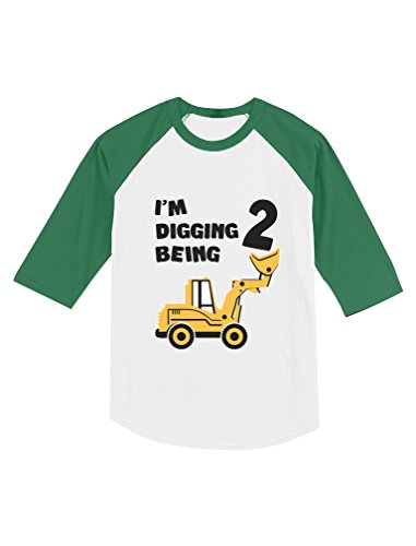 Tstars 2nd Birthday Bulldozer Construction Party Toddler Raglan 3/4 Sleeve Baseball Tee 2T Green/White]()