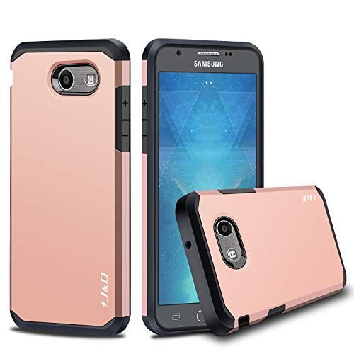 J&D Case Compatible for Galaxy J3 Emerge/Galaxy J3 2017 / Galaxy J3 Prime Case, Heavy Duty [Dual Layer] Hybrid Shock Proof Protective Rugged Bumper Case for Samsung Galaxy J3 Emerge Case - Rose Gold