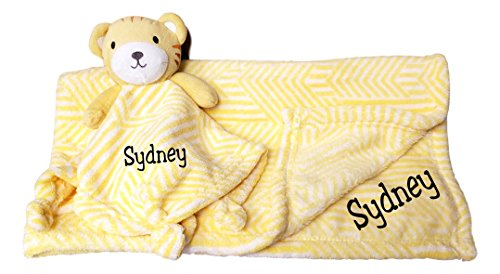 Blankie Personalized - Custom Embroidery Name Baby Blanket (30 x 40 inch) With Lovey Security Blanket (Lion Cub Set with Embroidery)