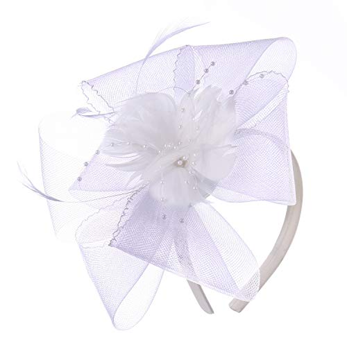 Felizhouse Fascinator Hats Women Ladies Feather Cocktail Party Hats Bridal Headpieces Kentucky Derby Ascot Fascinator Headband (#4 White) - Ladies Horse