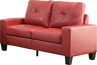 Luxury Loveseat, Create Unique Look to Your Home or Office, Combines Clean, Classic Lines with Retro Details, Featuring Tufted Back and Seat Cushion and Wooden Tapered Legs + Expert Guide