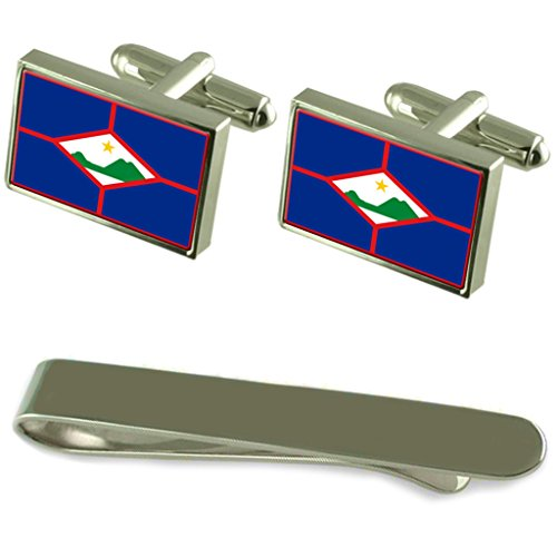 St. Eustatius Flag Silver Cufflinks Tie Clip Engraved Gift Set by Select Gifts
