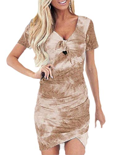 Smeiling Women Dress Bodycon V Neck Short Sleeve Ruched Slim Fit Mini Print Dress