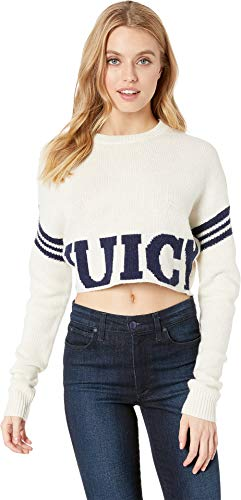 Juicy Couture Women's Collegiate Logo Sweater with Stripe Bleached Bone Large