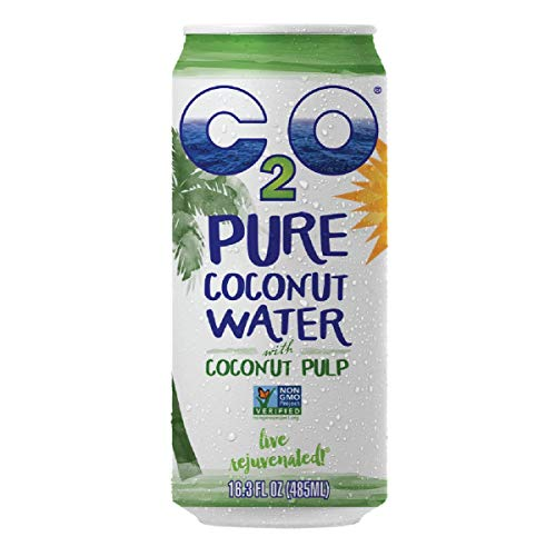 C2O Pure Coconut Water with Pulp | Plant Based | Non-GMO | No Added Sugar | Essential Electrolytes | 16.3 FL OZ (Pack of 8)