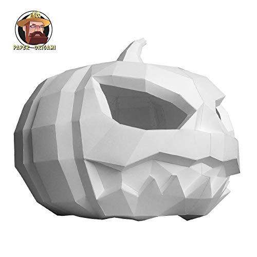 ZYWX DIY Pumpkin Light Paper Mold DIY Material Party Masquerade, Decoration, Decoration, Shade, Christmas/Halloween Mask,White]()
