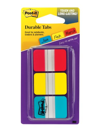 Post-it Durable IndexTabs, 1 Inch, Ideal For Binders and File Folders, Assorted Bright Colors, 36 per Dispenser (686-RYBT), Office Central