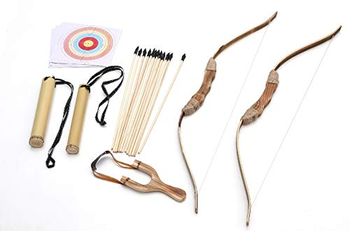PlayTime! 2-Packs Handmade Wooden Bow and Arrow Set - 12 Wooden Arrows, 2 Quivers and 20 target paper- For Adventure and Costume Cosplay. Now comes with free wooden sling shot -