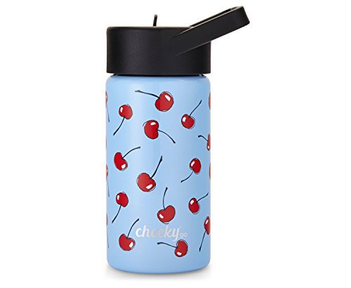 - Cheeky Kids Go 14oz Insulated Stainless Steel Water Bottle with Straw Lid - Light Blue Cherry Print