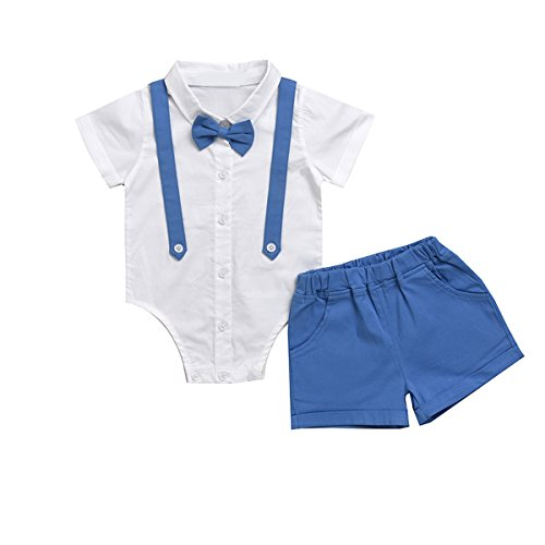 Puseky Baby Boys Gentleman Suit Bow Tie Romper Shirt + Shorts Formal Outfits Set (0-6 Months, White+Blue) Blue Formal Shirt
