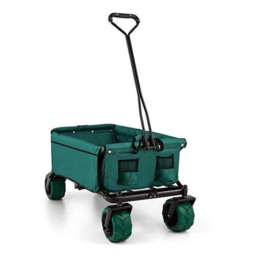 DURAMAXX The Green Bollerwagen Strand Handwagen Transport-Wagen zum ziehen (zusammen faltbar / klappbar, bis 70kg Belastbar, 10cm Breite Räder, leichter Stahl-Rahmen) grün