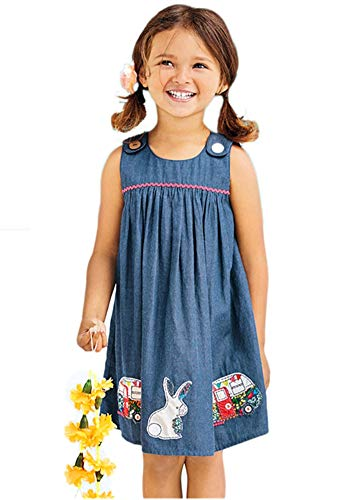 HILEELANG Girl Navyblue Suspender Tank Top Dress Casual Cotton Bunny Applique Button Strap Vest Dress]()