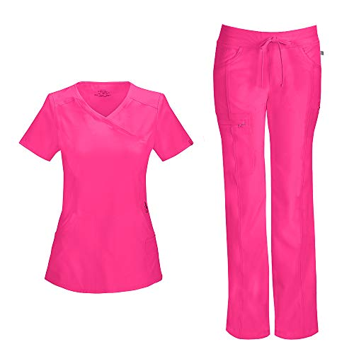 Cherokee Infinity Women's Mock Wrap Scrub Top 2625A & Low Rise Drawstring Scrub Pants 1123A Scrubs Set (Certainty Antimicrobial) (Poppy Pink - Medium/Medium)