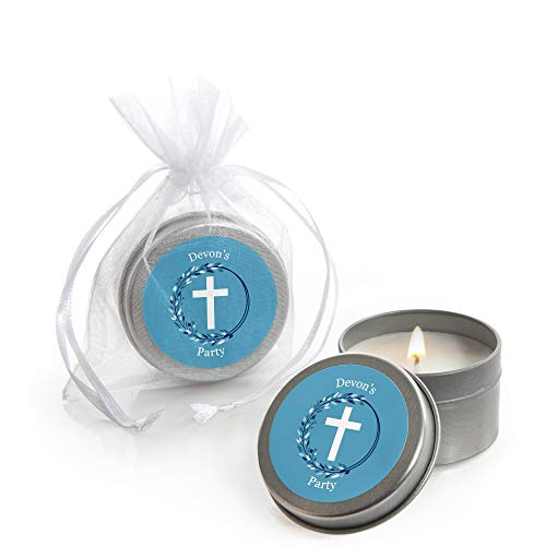 (Personalized Blue Elegant Cross - Custom Candle Tin Boy Religious Party Favors - Custom Text - Set of 12 )