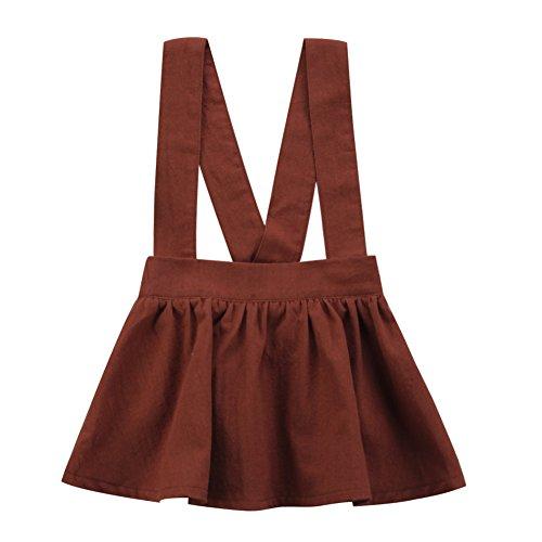 Toddler Infant Baby Girl A-line Suspender Skirt Ruffles Mini Dress Overalls (18-24 Months) (Suspender Mini)