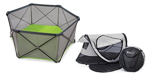 KidCo PeaPod Plus Travel Bed with Pop N Play Portable Play Yard Midnight
