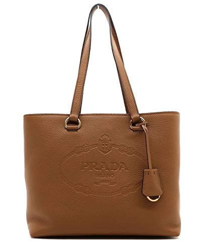 Prada Women's Brown Vitello Daino Leather Shopping Tote 1BG100