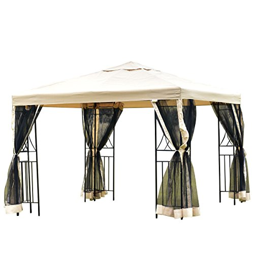 Tangkula Gazebo 10'x10', Heavy Duty All Weatherproof Metal Frame Gazebo Tent with Mosquito Netting and Privacy Wall, Perfect for Patio, Beach, Market, Poolside or Event, Large Outdoor Gazebo