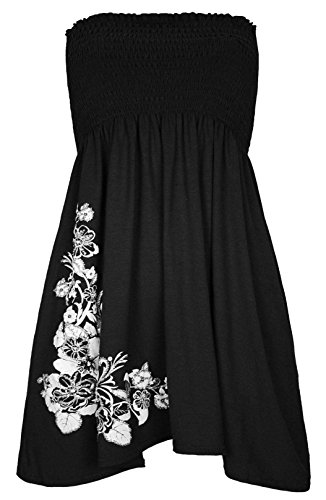 (RIDDLED WITH STYLE Womens Floral Glitter Swing Dress Ladies Strapless Bandeau Boobtube Sharing Top#(Black Swing Dress White Floral Glitter Top#US 14-16#Womens))