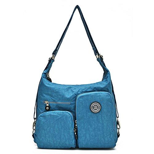 Outreo Bolsos de Moda Bolso Bandolera Mujer Bolsas de Viaje Impermeable Bolsos Baratos Mano Sport para Escolares Tablet Messenger Bag Nylon Azul One